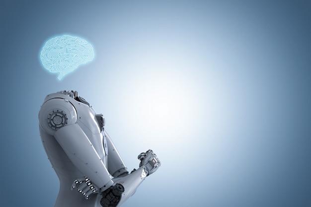 3d rendering cervello di intelligenza artificiale o cervello ai