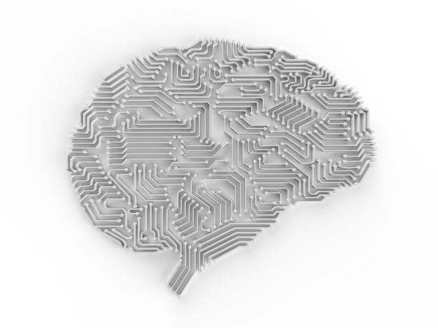 Rendering 3d di intelligenza artificiale cervello o circuito stampato a forma di cervello