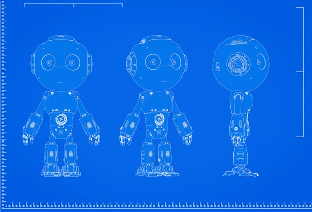 3d rendering intelligenza artificiale robot blueprint con scala su sfondo blu