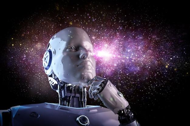 Il robot o il cyborg di intelligenza artificiale del rendering 3d analizza sullo sfondo della galassia