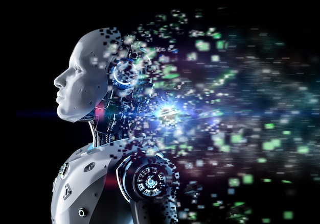 3d rendering robot o cyborg di intelligenza artificiale con bagliore su sfondo nero