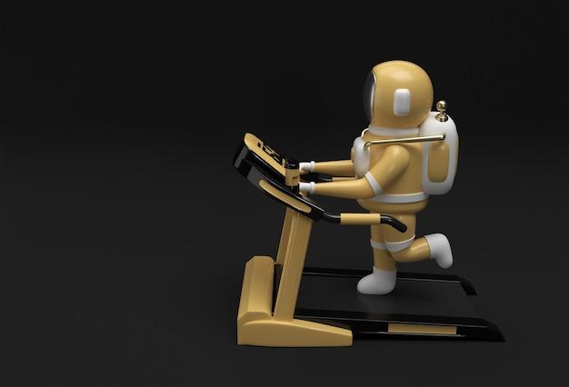 Rendering 3d astronauta in esecuzione tapis roulant su uno sfondo futuristico.