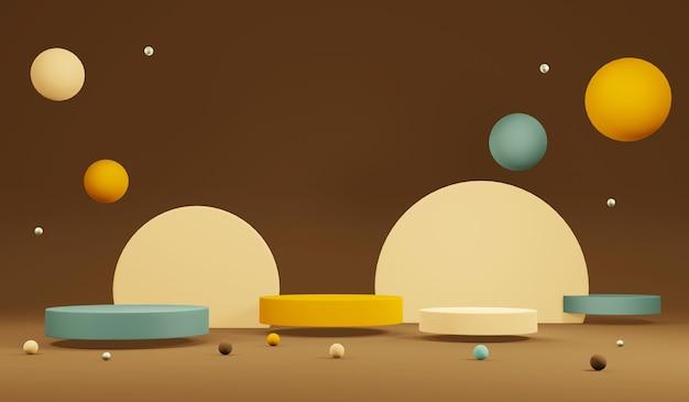 Visualizzazione 3d del prodotto sul podio del tema del colore autunnale del rendering nella scena dei colori pastello per la pubblicità. illustrazione di rendering 3d.