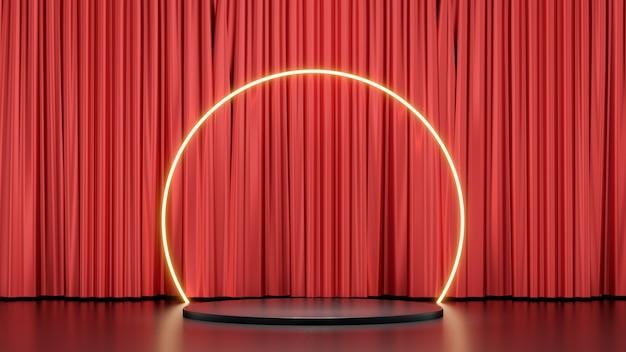 Sfondo di rendering 3d. prodotti di esposizione sul podio del palco nero con un cerchio di luce bagliore e uno sfondo lucido a tenda. immagine per la presentazione.