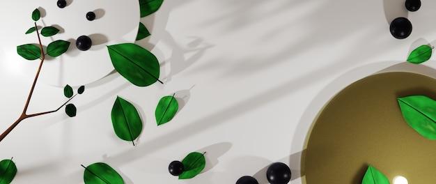 Rendering 3d di sfondo per la visualizzazione di prodotti, creme e cosmetici. per prodotto da esposizione. mockup vetrina sfondo vuoto.