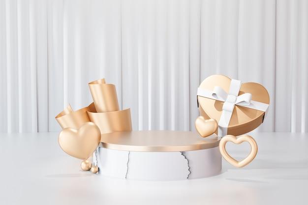 Sfondo di rendering 3d. podio da palco cilindrico in marmo bianco oro con scatola regalo cuore d'oro su sfondo bianco tenda. immagine per la presentazione.