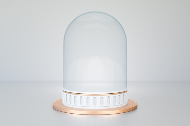 Sfondo di rendering 3d. podio da palco cilindrico in oro bianco in stile romano con copertura in vetro regalo. immagine per la presentazione.