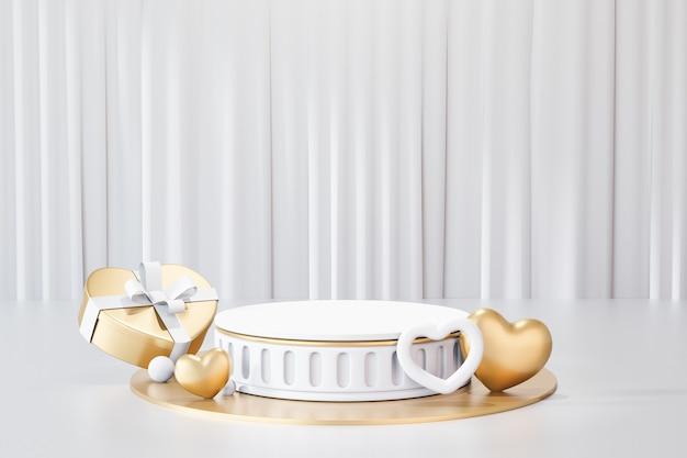Sfondo di rendering 3d. podio da palcoscenico cilindrico in oro bianco in stile romano con scatola regalo a forma di cuore su sfondo bianco tenda. immagine per la presentazione.