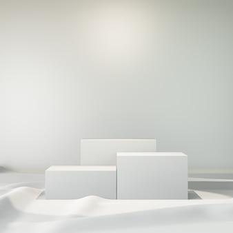 Sfondo di rendering 3d. podio della fase della scatola bianca tre sul pavimento bianco del panno immagine per la presentazione.