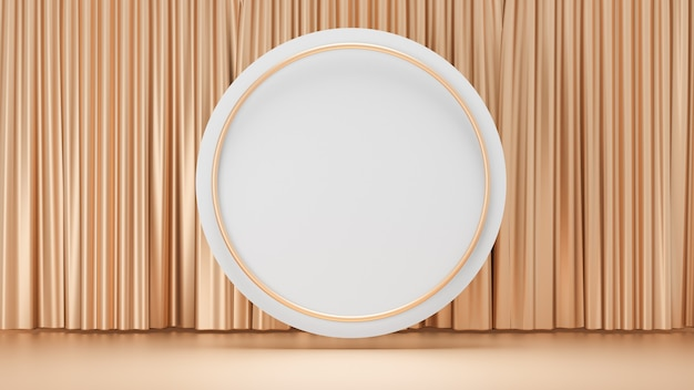 Sfondo di rendering 3d. cilindro a cerchio bianco e display ad anello d'oro con una facciata continua d'oro. immagine per la presentazione.