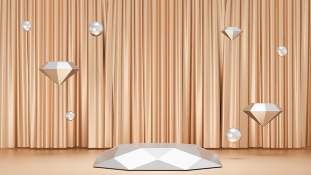 Sfondo di rendering 3d. prodotto da esposizione per podio da palco con diamante bianco con una decorazione murale dorata con la sfera di diamanti. immagine per la presentazione.