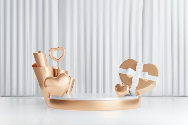 Sfondo di rendering 3d. podio da palcoscenico cilindrico in oro bianco con scatola regalo cuore d'oro su sfondo bianco tenda. immagine per la presentazione.
