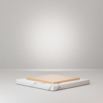 Sfondo di rendering 3d. podio in marmo bianco con strato d'oro su pavimento bianco. immagine per la presentazione.