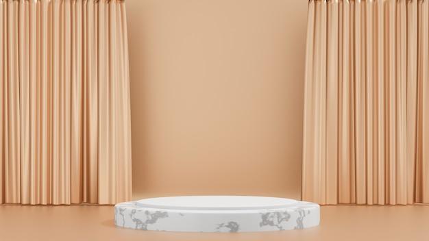 Sfondo di rendering 3d. espositore da palco in marmo bianco con parete divisoria dorata. immagine per la presentazione.