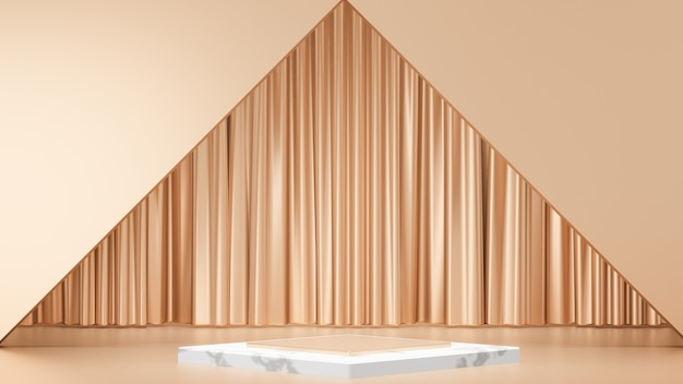 Sfondo di rendering 3d. espositore da palco in marmo bianco con cornice dorata e facciata continua. immagine per la presentazione.