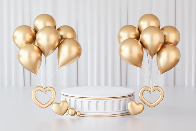 Sfondo di rendering 3d. podio da palco cilindrico in oro bianco stile romano con palloncino dorato e cuore d'oro su sfondo bianco tenda immagine per la presentazione.