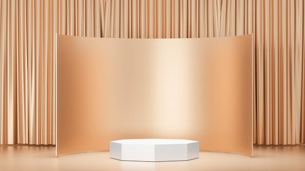 Sfondo di rendering 3d. prodotto da podio da palcoscenico bianco con una curva dorata e una parete divisoria. immagine per la presentazione.