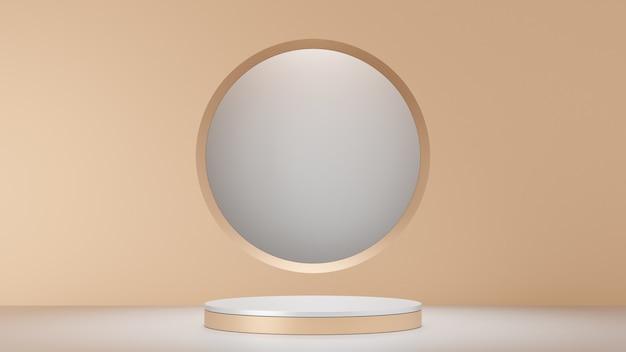 Sfondo di rendering 3d. prodotto da podio da palco bianco con parete dorata e cornice circolare. immagine per la presentazione.