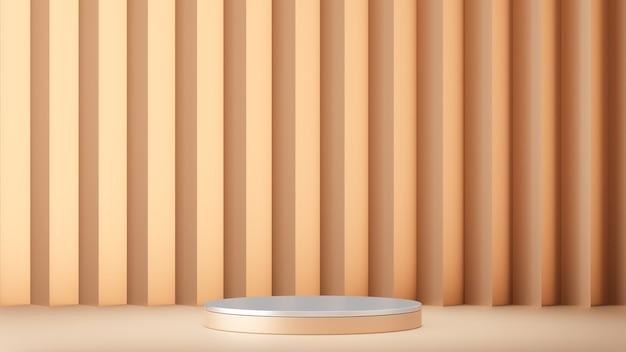 Sfondo di rendering 3d. prodotto da podio da palco bianco con parete a zigzag dorata. immagine per la presentazione.