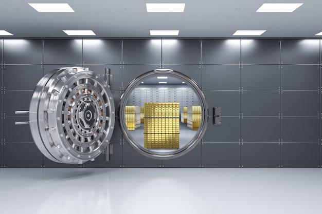 Rendering 3d caveau di una banca aperto con lingotti all'interno