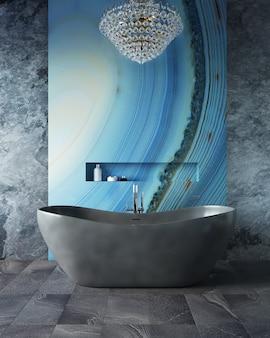 Rendering 3d del bagno. lussuosa vasca da bagno in piedi in un bagno costoso.