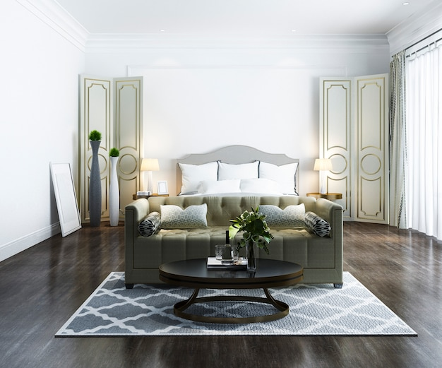3d che rende la bella serie di camera da letto di lusso classica in hotel con la tv