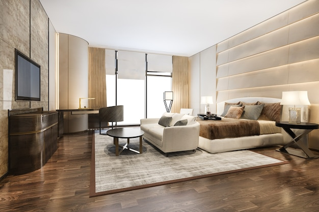 3d che rende bella suite di camera da letto di lusso contemporanea in hotel con tv e divano