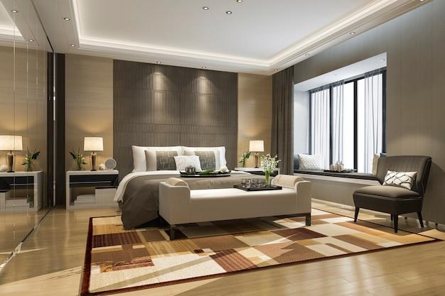 3d che rende la bella suite di lusso della camera da letto in hotel con il guardaroba dello specchio