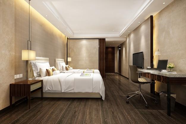 Rendering 3d bellissima suite di lusso in hotel con tv e tavolo da lavoro