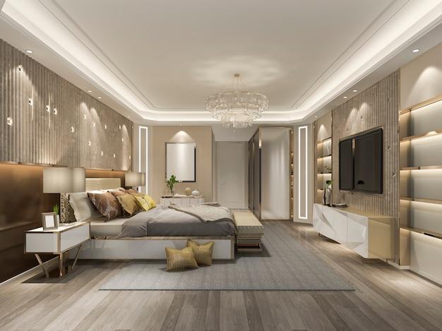 3d che rende la bella suite di lusso della camera da letto in hotel con la tv