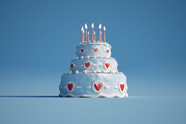 Rendering 3d di una grande torta di compleanno blu