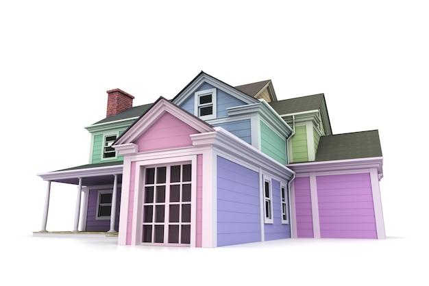 Rendering 3d di una grande residenza in legno dipinta in diversi colori pastello