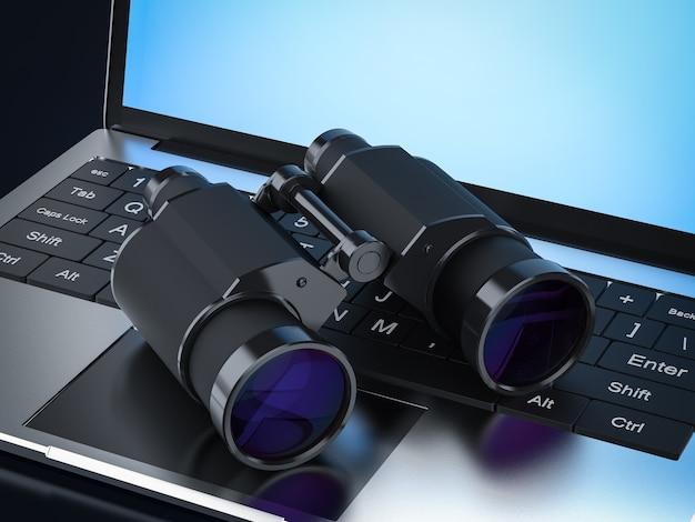 Binocolo di rendering 3d su laptop a schermo vuoto