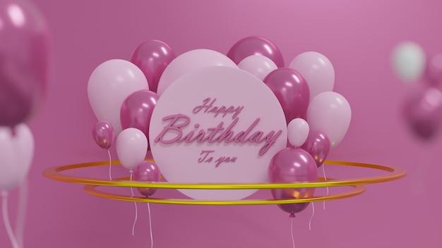 Rendering 3d sfondo della carta di compleanno con palloncini rosa palloncini rosa tenui e cerchio d'oro su sfondo rosaillustrazione 3d