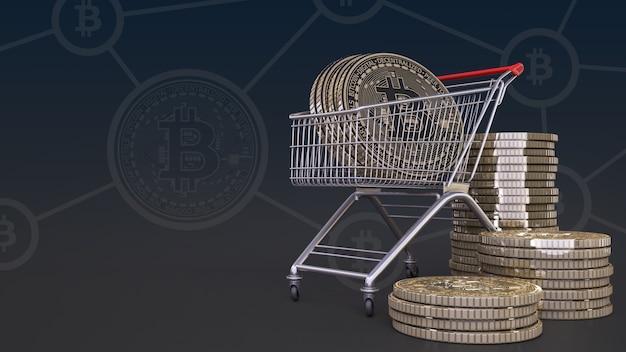 Rendering 3d di un bitcoin in un carrello su sfondo nero