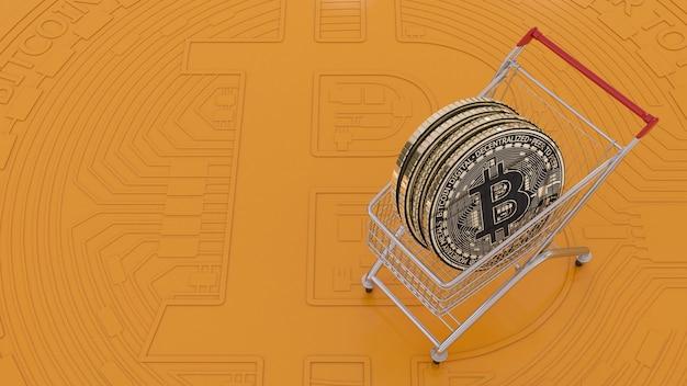 Rendering 3d di un bitcoin in un carrello su sfondo arancione