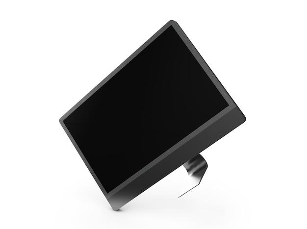 3d rendering monitor nero isolato su sfondo bianco