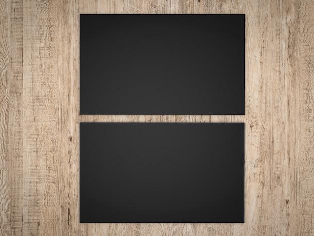 3d che rende le carte di nome nere davanti e nere su fondo di legno