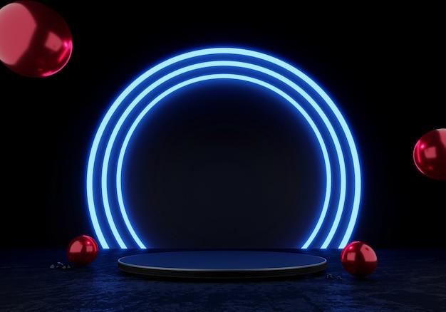 3d rendering podio nero o piedistallo display prodotto vuoto in piedi cerchio blu bagliore luce al neon