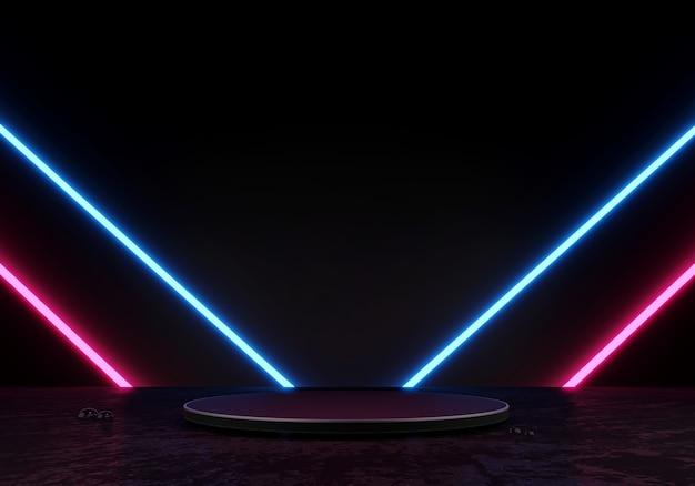 3d rendering podio nero o piedistallo display prodotto vuoto in piedi luce al neon bagliore laser blu