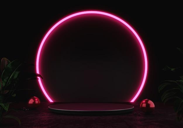 3d rendering podio nero o piedistallo display prodotto vuoto in piedi cerchio rosa bagliore luce al neon