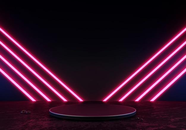 3d rendering podio nero o piedistallo display prodotto vuoto in piedi luce al neon bagliore lase rosa
