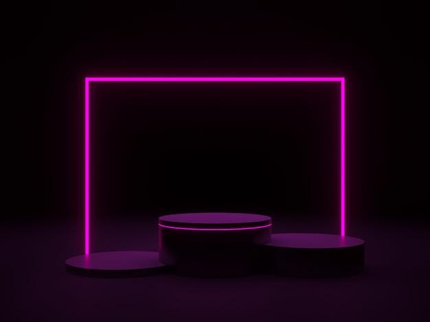 Rendering 3d. podio nero con luci al neon rosa.