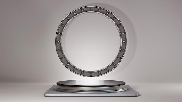 Rendering 3d del podio nero con strisce argentate per la visualizzazione di prodotti in uno sfondo di una stanza dai toni grigi. mockup per prodotto da esposizione.