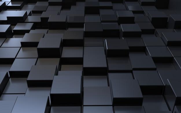 Fondo astratto del cubo del poligono nero di rendering 3d
