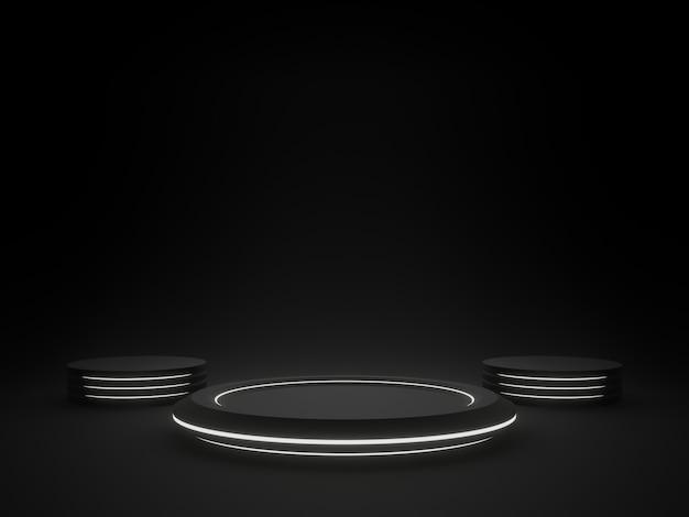 Rendering 3d stand prodotto black sci fi con luce al neon bianca