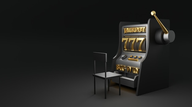 3d rendering nero slot machine, concetto di casinò.