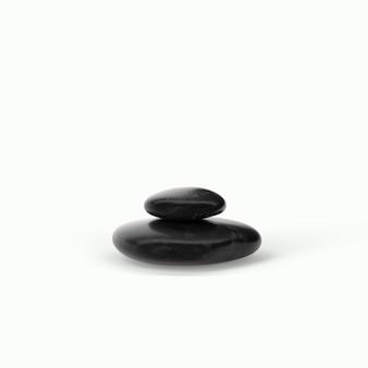 Rendering 3d pietre nere spa con gocce d'acqua isolate su background.suit bianco per il tuo elemento di design.