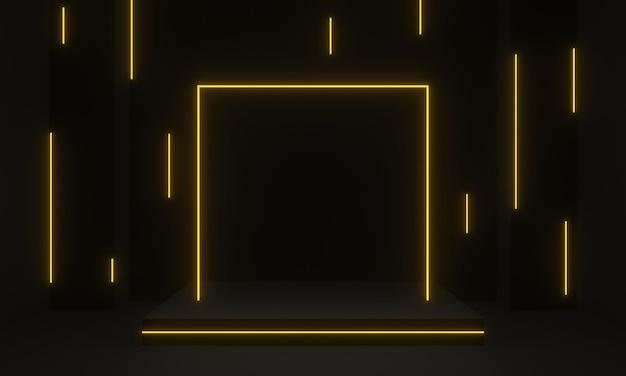 Rendering 3d fase nera con cornice al neon giallo