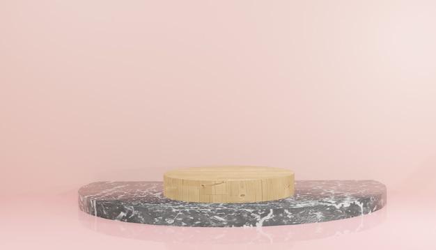 Rendering 3d di modello di podio in legno e marmo nero con foglie su sfondo rosa illustrazione